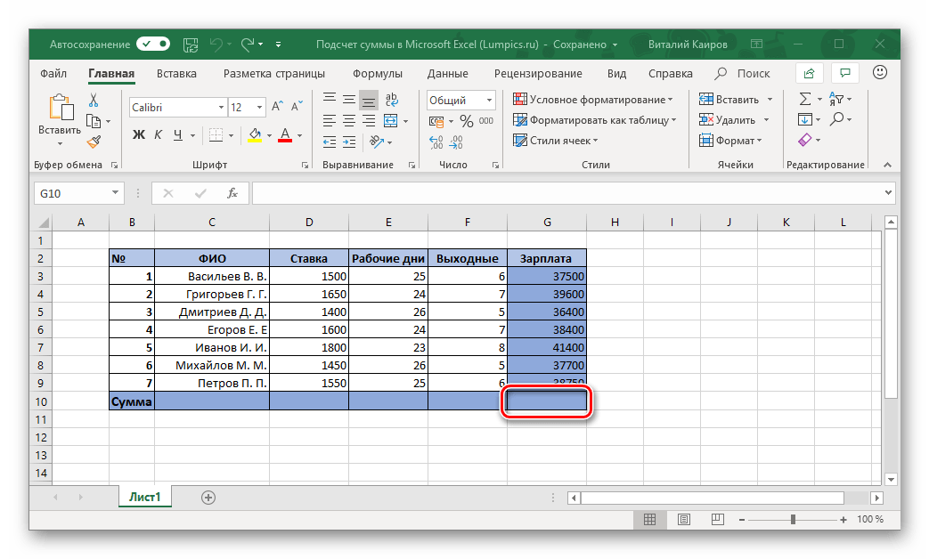 Ячейка для ввода формулы суммы в таблице Microsoft Excel