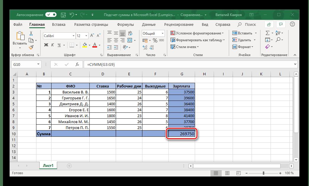 Ячейка с подсчитанной суммой в таблице Microsoft Excel