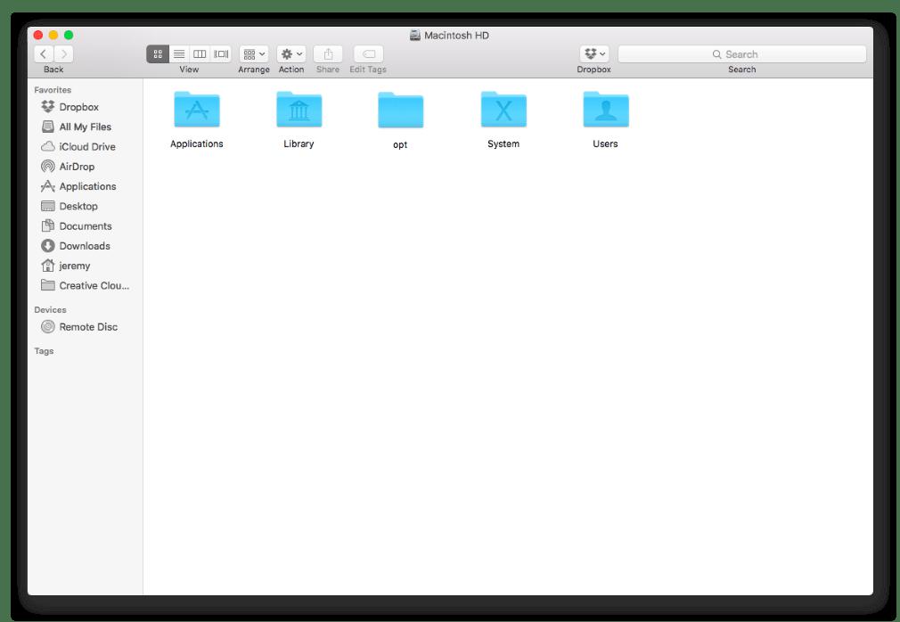 Файлы и папки в Finder в среде операционной системы macOS