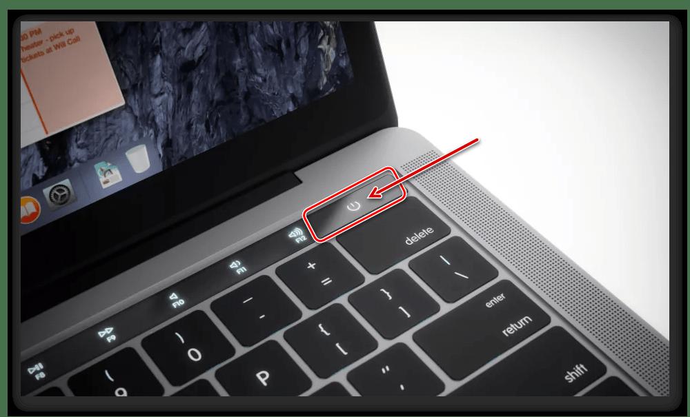 Кнопка питания на macBook для его включения, выключения и перезагрузки