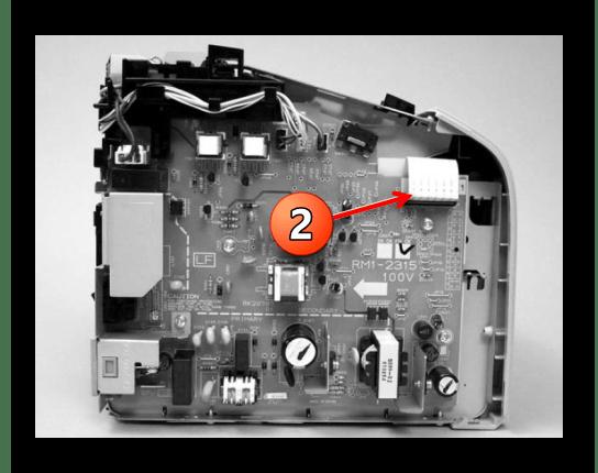 Отсоединение шлейфа платы управления при снятии блока лазера принтера Canon