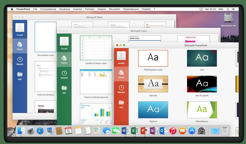 Пакет Microsoft Office запущен на компьютере с macOS
