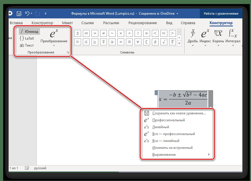 Параметры преобразования уравнения в программе Microsoft Word