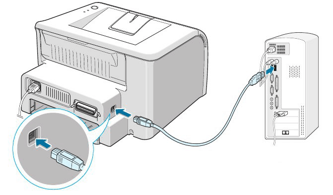 Подключение принтера HP LaserJet P1102 к компьютеру посредством USB-кабеля