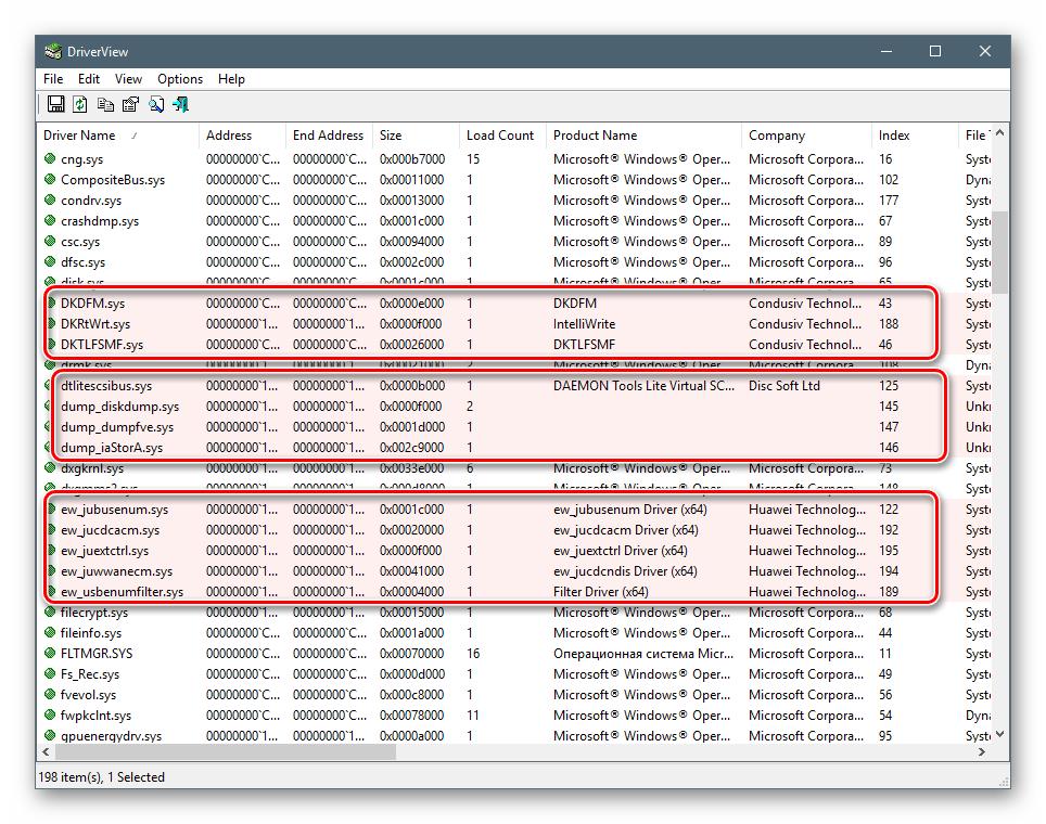 Подсветка драйверов от сторонних разработчиков в программе DriverView