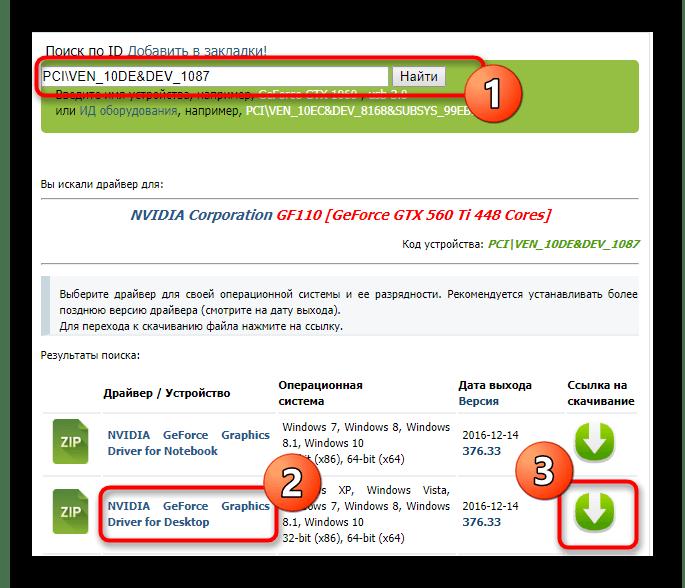 Поиск драйвера для видеокарты NVIDIA GeForce GTX 560 TI через идентификатор