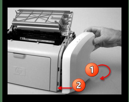 Полное отсоединение боковой панели принтера Canon вручную при его разборке