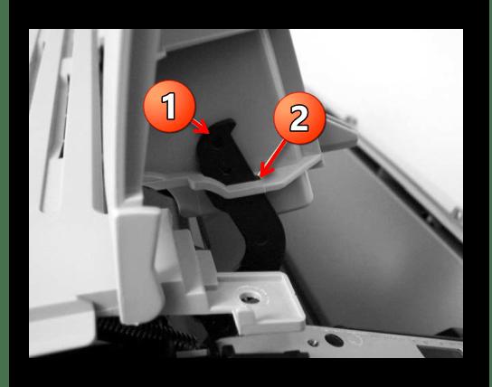 Положение фиксаторов верхней крышки принтера Canon при ее аппарате