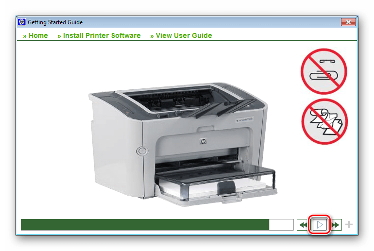 Процесс установки драйвера для принтера HP LaserJet P1505