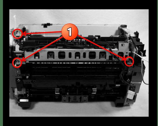 Снятие узла термозакрепления при разборке принтера Canon