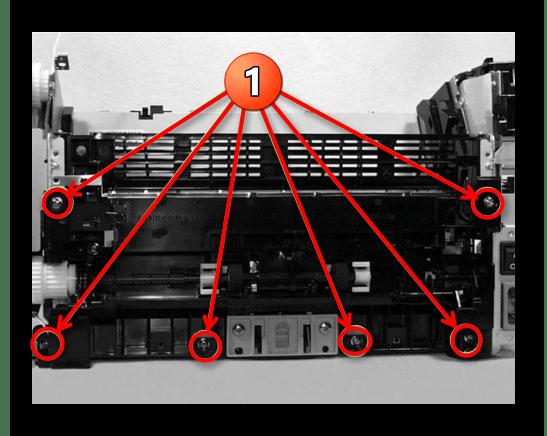 Снятие узла транспортировки при разборке принтера Canon
