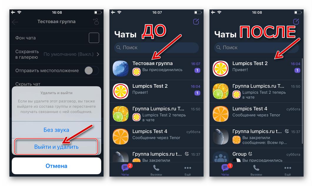 Viber для iPhone выход из группового чата - пункт меню Выйти и удалить