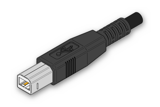 Внешний вид разъема USB-B для подключения принтера к компьютеру