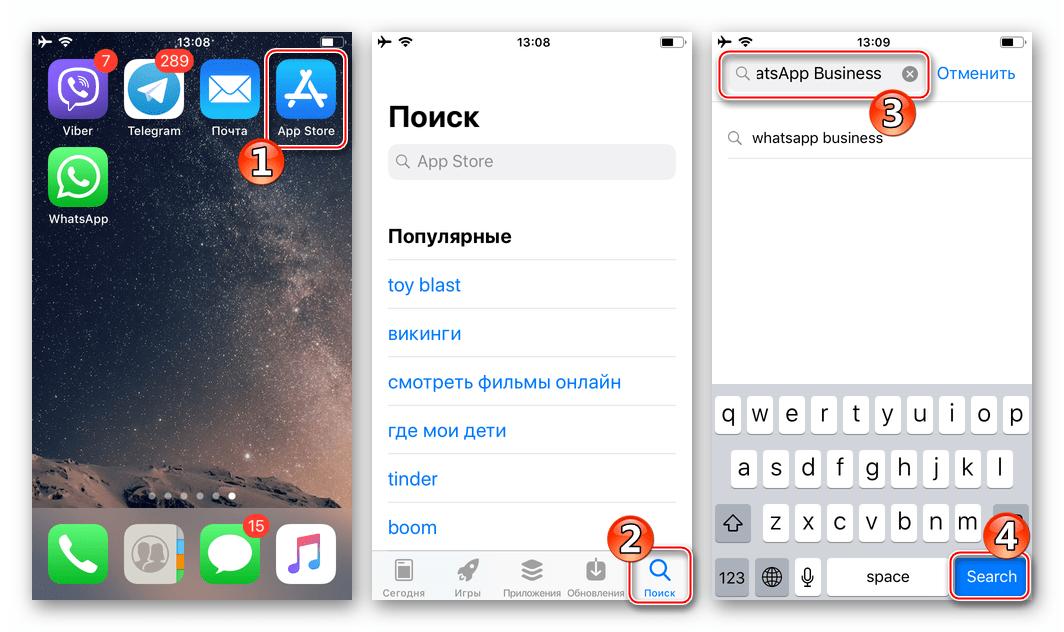 WhatsApp Business для iOS поиск программы в Apple App Store
