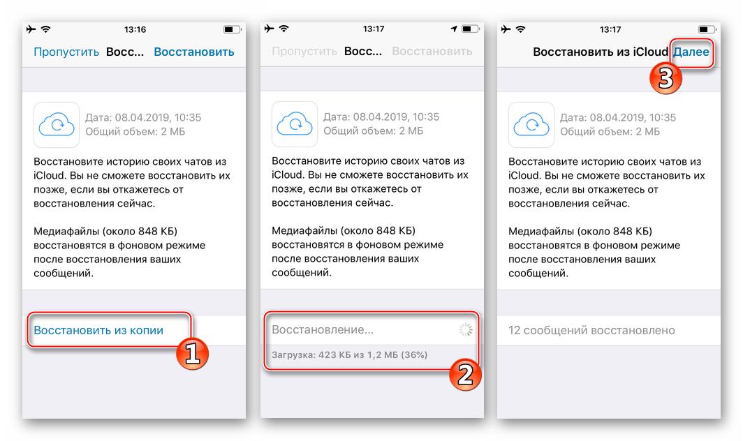 WhatsApp Business для iPhone восстановление данных из резервной копии при авторизации в сервисе через приложение