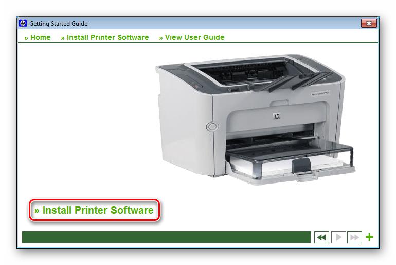 Запуск инсталляции программного обеспечения для принтера HP LaserJet P1505