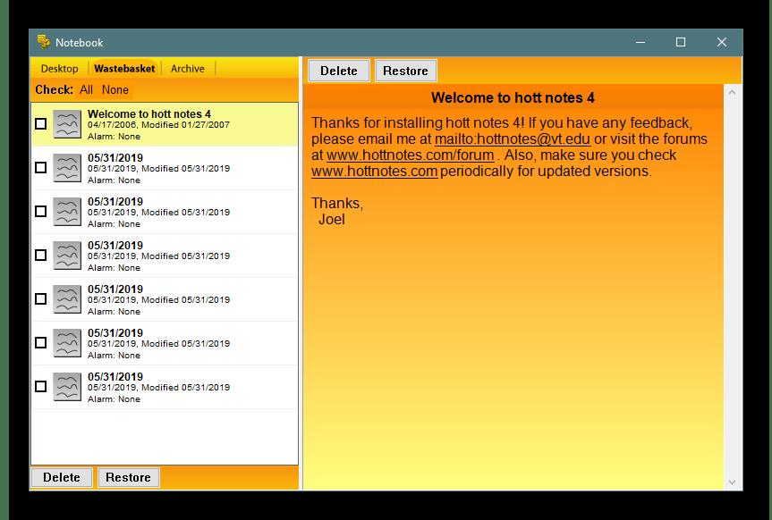 Главное окно управления заметками в программе Hott Notes