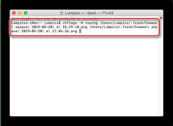 Исполнение команды в терминале macOS для удаления защищенных файлов