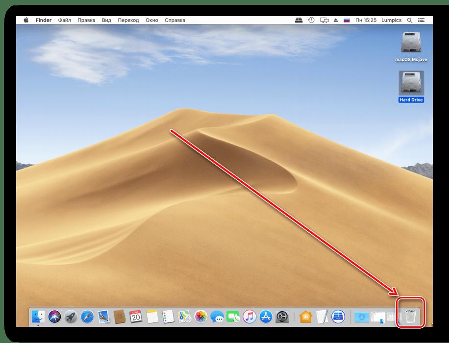 Открыть корзину для окончательного удаления файлов на macOS