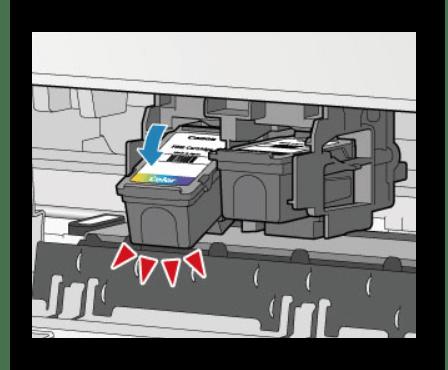 Отсоединение картриджа от разъема струйного принтера фирмы  HP
