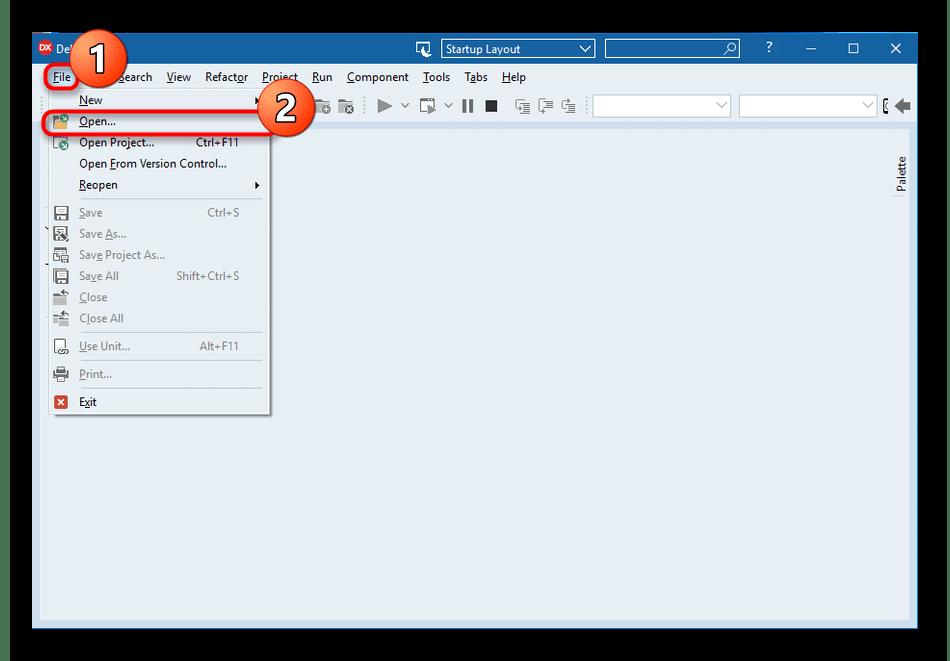 Переход к открытию файла для редактирования в программе Embarcadero RAD Studio