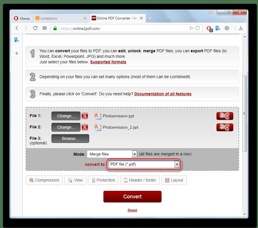 Переход к выбору направления преобразования файла PPT на сайте Online2PDF в браузере Opera