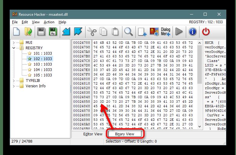 Переключение в бинарный вид исходного кода в программе Resource Hacker