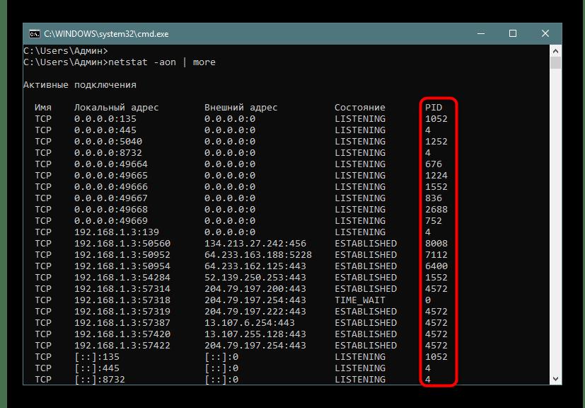 Постраничное отображение соединений с идентификаторами через команду netstat