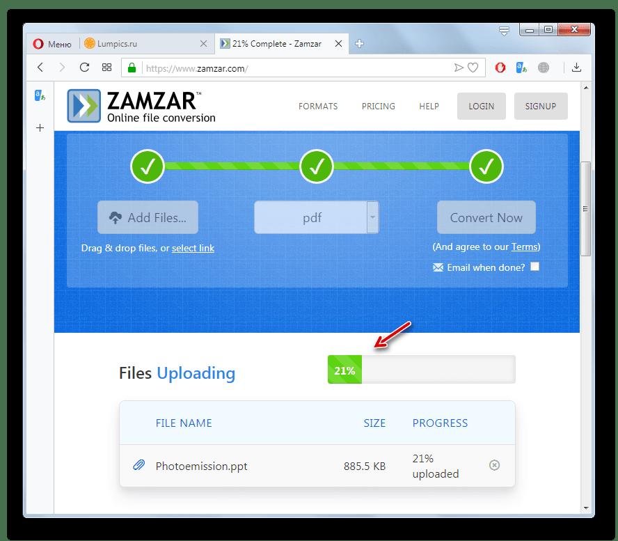 Процедура преобразования файла PPT в PDF на сайте Zamzar в браузере Opera