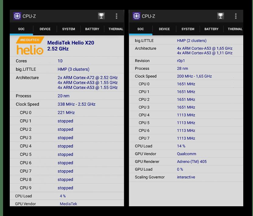 Просмотр информации о процессоре на Android