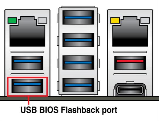 Вход USB загрузочной флешки для восстановления БИОС через asus crashfree bios 3