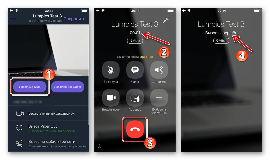 Viber для iPhone голосовой вызов через мессенджер с карточки контакта