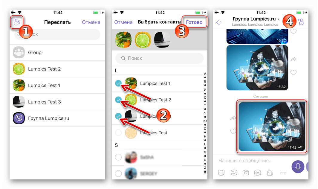 Viber для iPhone пересылка фото из чата или группы пользователям из адресной книги мессенджера