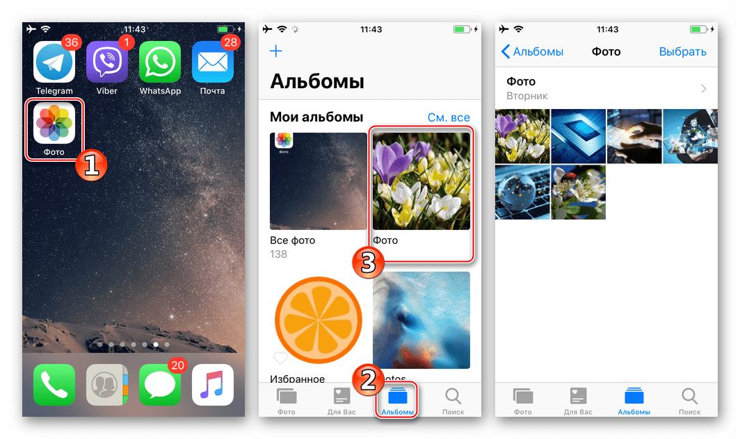 Viber для iPhone пересылка изображения из приложения Фото через мессенджер