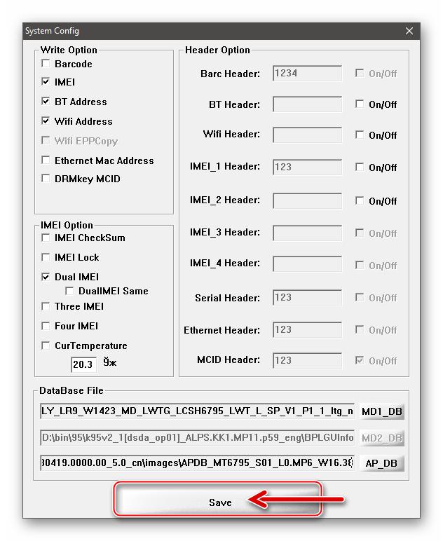 Xiaomi Redmi Note 3 MTK SN Writer сохранение изменений в System Config программы