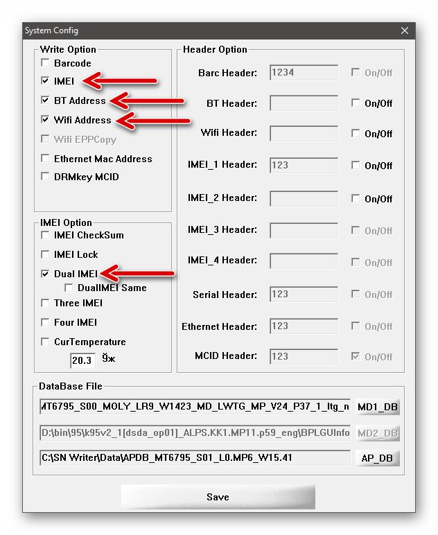 Xiaomi Redmi Note 3 MTK SN Writer установка отметок возле наименований восстанавливаемых идентификаторов