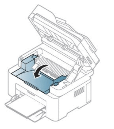 Закрытие внутренней крышки лазерного принтера компании Samsung