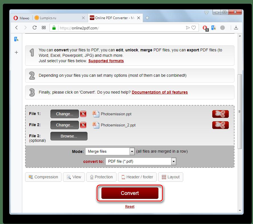 Запуск конвертации файла PPT в PDF на сайте Online2PDF в браузере Opera