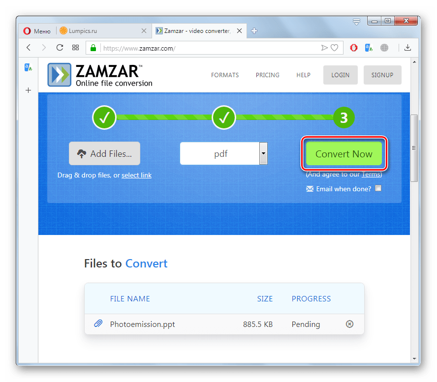 Запуск конвертации файла PPT в PDF на сайте Zamzar в браузере Opera