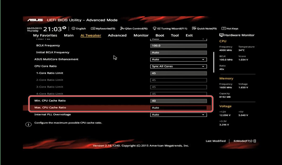 Множитель кэша в ASUS BIOS для разгона процессора