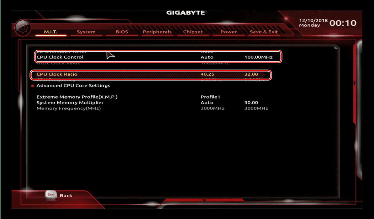 Настройка множителя базовой частоты в GIGABYTE BIOS для разгона процессора