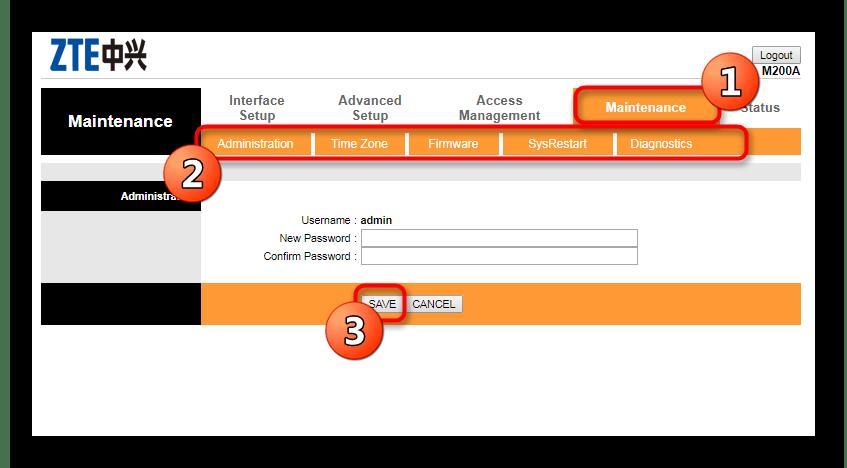 Настройки администратора в веб-интерфейсе роутера Промсвязь