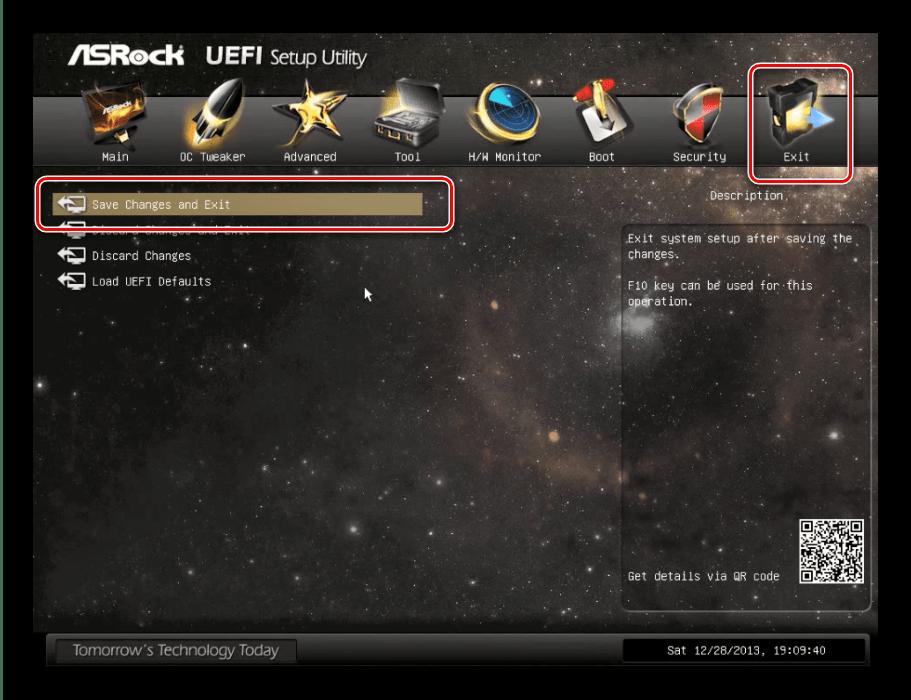 Сохранение настроек в ASRock UEFI для установки диска в качестве основного носителя