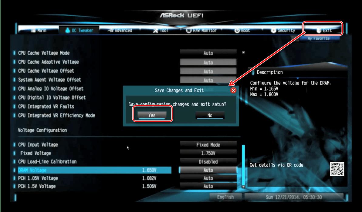 Сохранить настройки в ASRock BIOS для разгона процессора