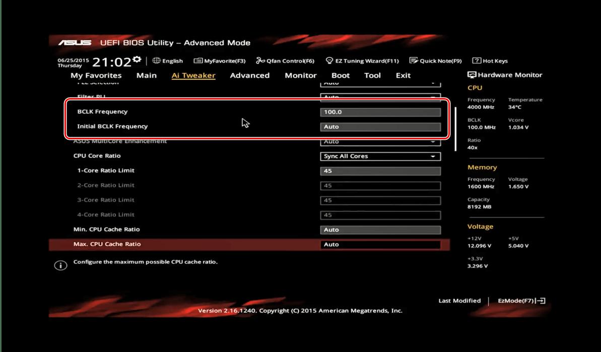 Установить множитель и стартовую частоту в ASUS BIOS для разгона процессора