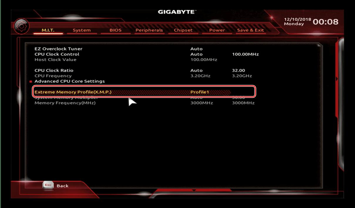 Включить кастомный профиль в GIGABYTE BIOS для разгона процессора