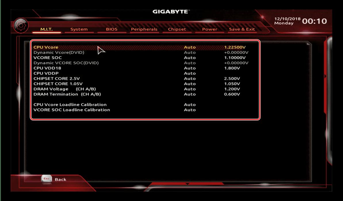 Вольтаж в GIGABYTE BIOS для разгона процессора