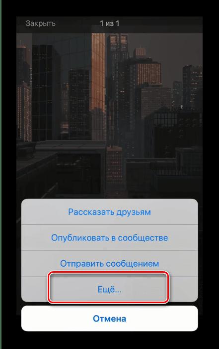 Выбрать дополнительные пункты меню Поделиться для сохранения гифки с Вк на айфон