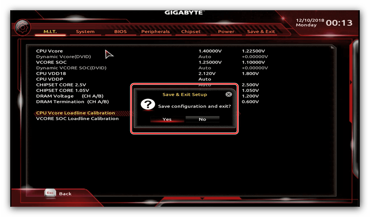Выход и сохранение параметров GIGABYTE BIOS для разгона процессора