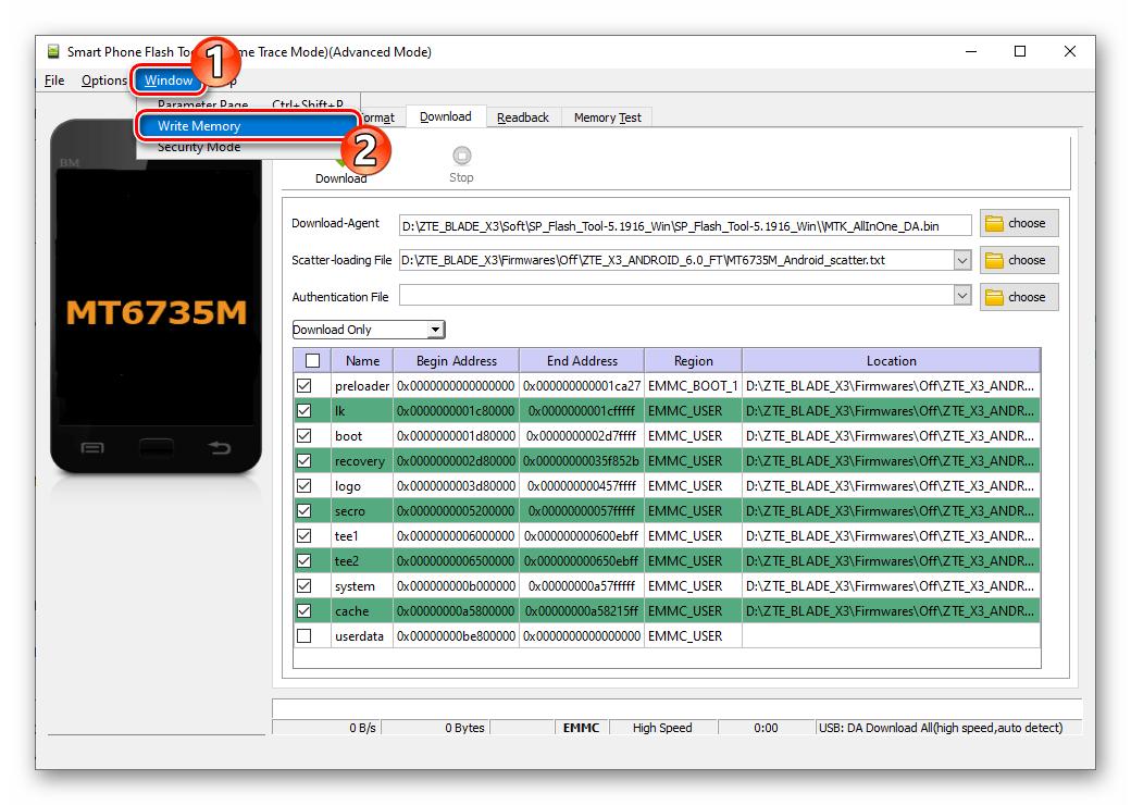 ZTE Blade X3 SP Flash Tool активация вкладки Write Memory и переход на нее